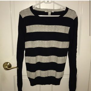 Forever 21 navy blue & white lace striped sweater